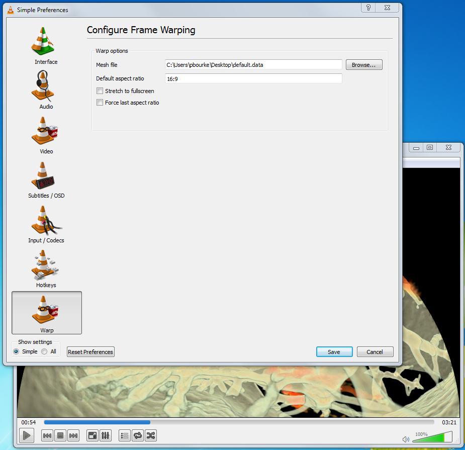 Movie warping software