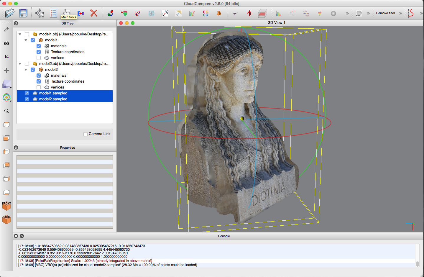 Workflow for comparing two reconstructed meshes