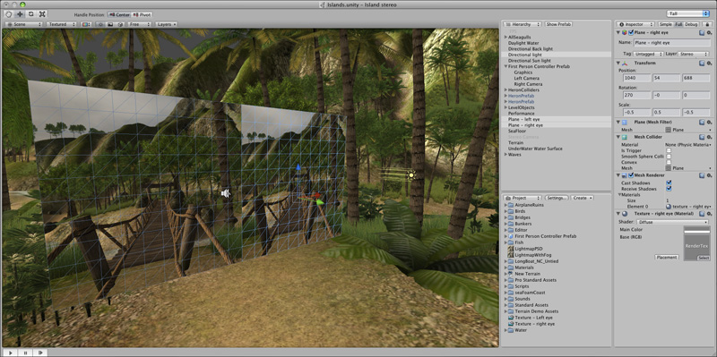 create side  side stereo pairs   unity game engine