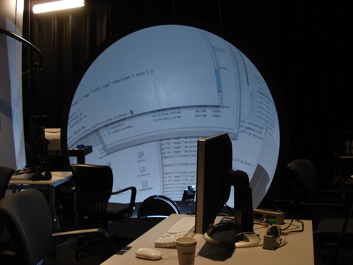 Stereoscopic Fisheye Projection Into An Upright Dome